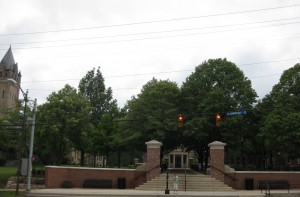 across the street, looking at the first third of campus