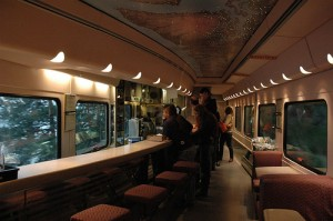 dining car on matrak 300x199 Train travel around the US